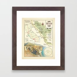 Bixby Bridge [vintage inspired] Big Sur Area Map Framed Art Print