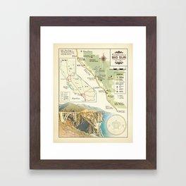 Bixby Bridge [vintage inspired] Big Sur Area Map Framed Art Print