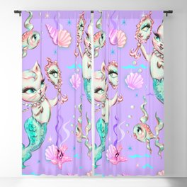 Merkittens with Pearls on Violet Blackout Curtain