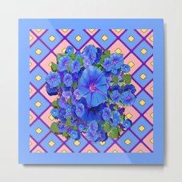 Blue Diamond Patterns Morning Glories Art Metal Print