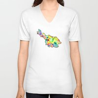 water colour V-neck T-shirts featuring Cavan Water Colour by Kramcox