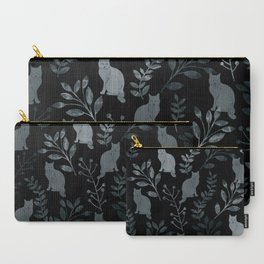 Watercolor Floral and Cat III Carry-All Pouch