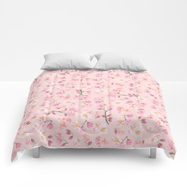 Cherry Blossom Pattern on Peach Background Comforters