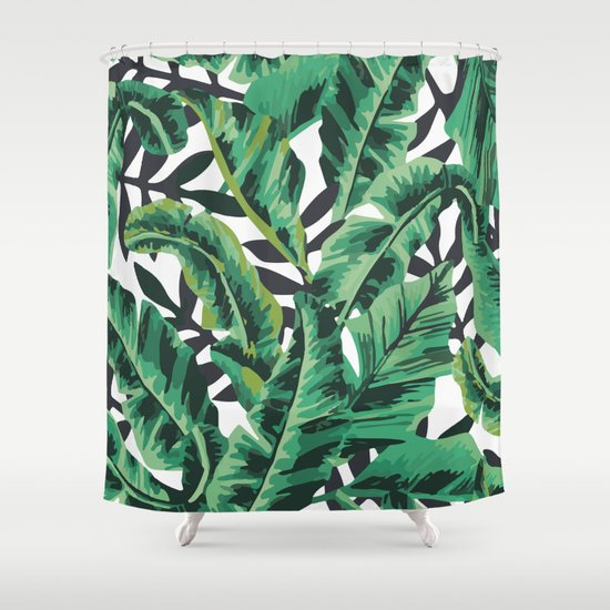 Tropical Glam Banana Leaf Print Shower Curtain By Boltsandglitter | Society6