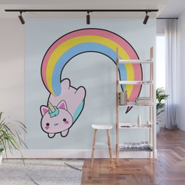 Kawaii proud rainbow cattycorn Wall Mural