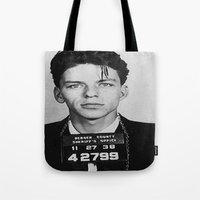 frank sinatra Tote Bags featuring Frank Sinatra Mugshot by Neon Monsters