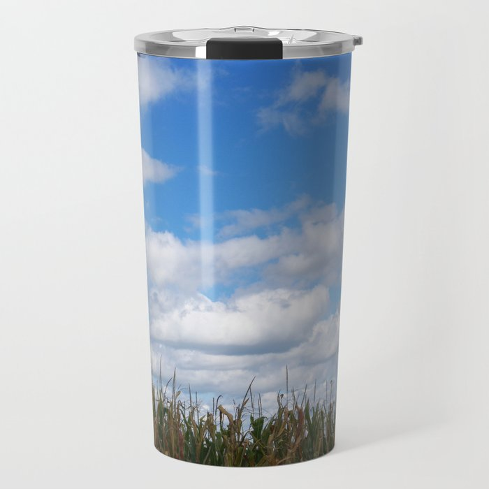 "Corn field in autumn with ""popcorn"" clouds Travel Mug"
