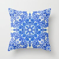 bedding Throw Pillows featuring Cobalt Blue & China White Folk Art Pattern by micklyn