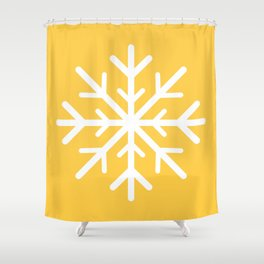 Snowflake (White & Light Orange) Shower Curtain