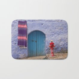 Chefchaouen Morocco Fire Hydrant and Door Bath Mat