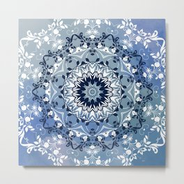 MAGICAL BLUE AND WHITE FLORAL MANDALA Metal Print