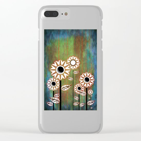 Retro flowers in brown and blue Clear iPhone Case