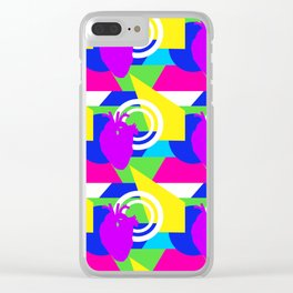 80s colorblock heart Clear iPhone Case