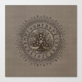 Tree of life with Triquetra Beige Leather and gold Canvas Print