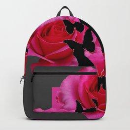 BLACK BUTTERFLIES FUCHSIA ROSES GREY ART Backpack
