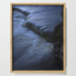 Sparkling Blue Water Slips Past Gnarled Tree Roots Serving Tray
