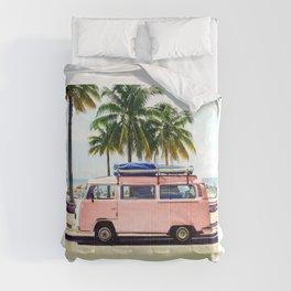 Pink Combi Van, Retro Camper Art Print By Synplus Comforters