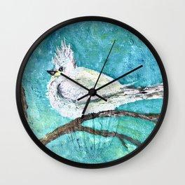 Bird in a white fluffy coat Wall Clock