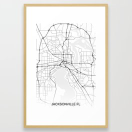 Jacksonville street map Framed Art Print