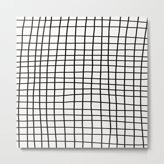 Handdrawn Grid Metal Print