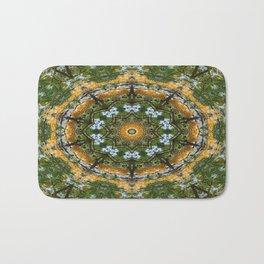 Yellow Tree Flower Kaleidoscope Art 7 Bath Mat