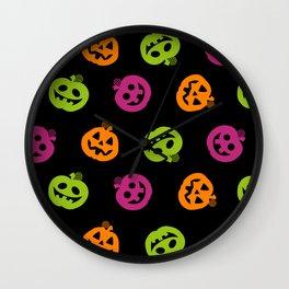 Fanciful Jack O' Lanterns Halloween Pattern Wall Clock