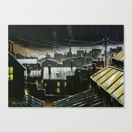 Rainy night in the factories Canvas Print