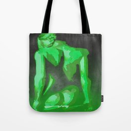 Beautiful Young Woman Wearing Plaits and Panties (Green) Tote Bag