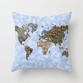CAMO WORLD ATLAS MAP (blue) Throw Pillow