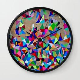 Geometric Rainbow Cluster on Wood Wall Clock
