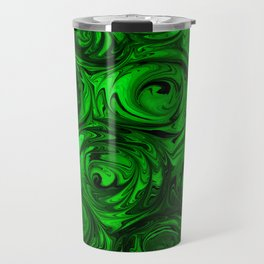 Apple Green and Onyx Glass Swirl Abstract Travel Mug