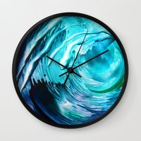 surfing Wall Clocks featuring Surfing by ART de Luna