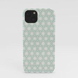 Seafoam Green Asanoha (Hemp Leaf) Pattern iPhone Case