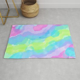Lovely Colorful Watercolor Clouds Rug