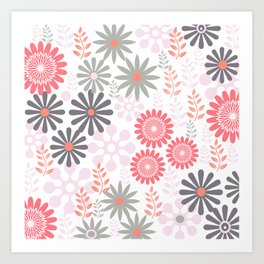 Floral pattern in pink and gray Art Print