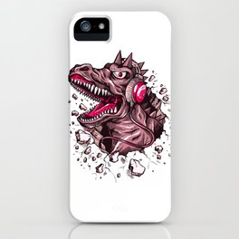 Dino with Headphones Puce iPhone Case