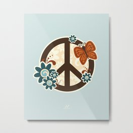 Peace, Love, and Garden  |  Cool, Blue Metal Print
