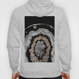 Gray Black White Agate with Gold Glitter on Black #1 #gem #decor #art #society6 Hoody