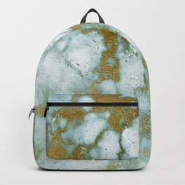 Gilded gold faux marble texture Backpack