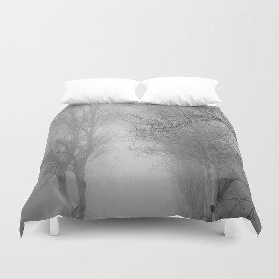"""Follow it,  love your forests....."". Monochrome Duvet Cover"