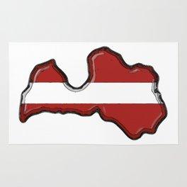 Latvia Map and Latvian Flag Rug