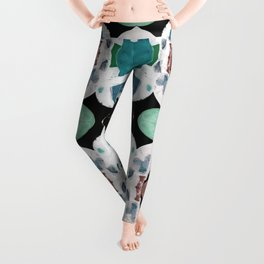 Teal Blue White On Black Abstract Leggings