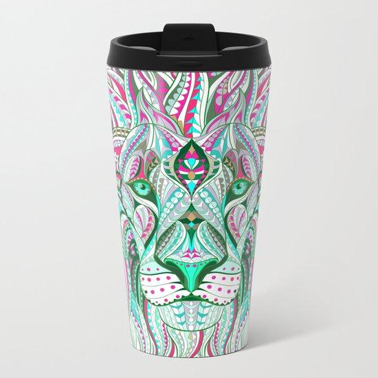 Sea Green Ethnic Lion Metal Travel Mug