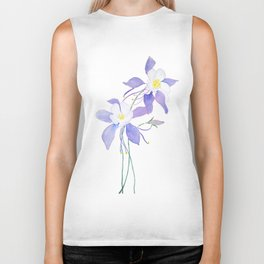purple columbine flower Biker Tank