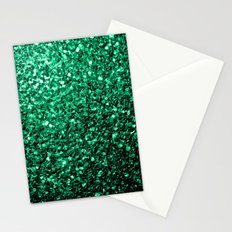 Beautiful Emerald Green glitter sparkles Stationery Cards