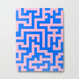Cotton Candy Pink and Brandeis Blue Labyrinth Metal Print