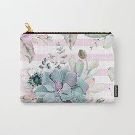 Simply Succulent Garden on Desert Rose Pink Striped Carry-All Pouch