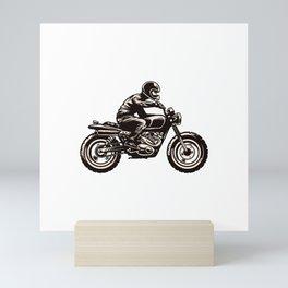 Hand Drawing Style Man Riding Scrambler Style Motorcycle Mini Art Print