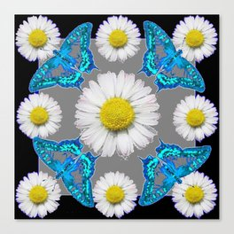 Blue Moths White Daisies Black Grey Art Canvas Print