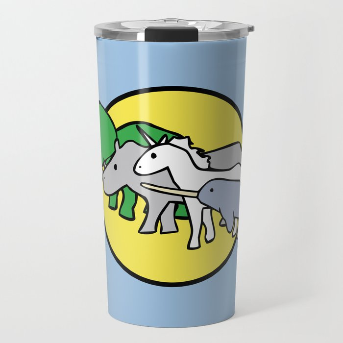 Horned Warrior Friends (unicorn, narwhal, triceratops, rhino) Travel Mug
